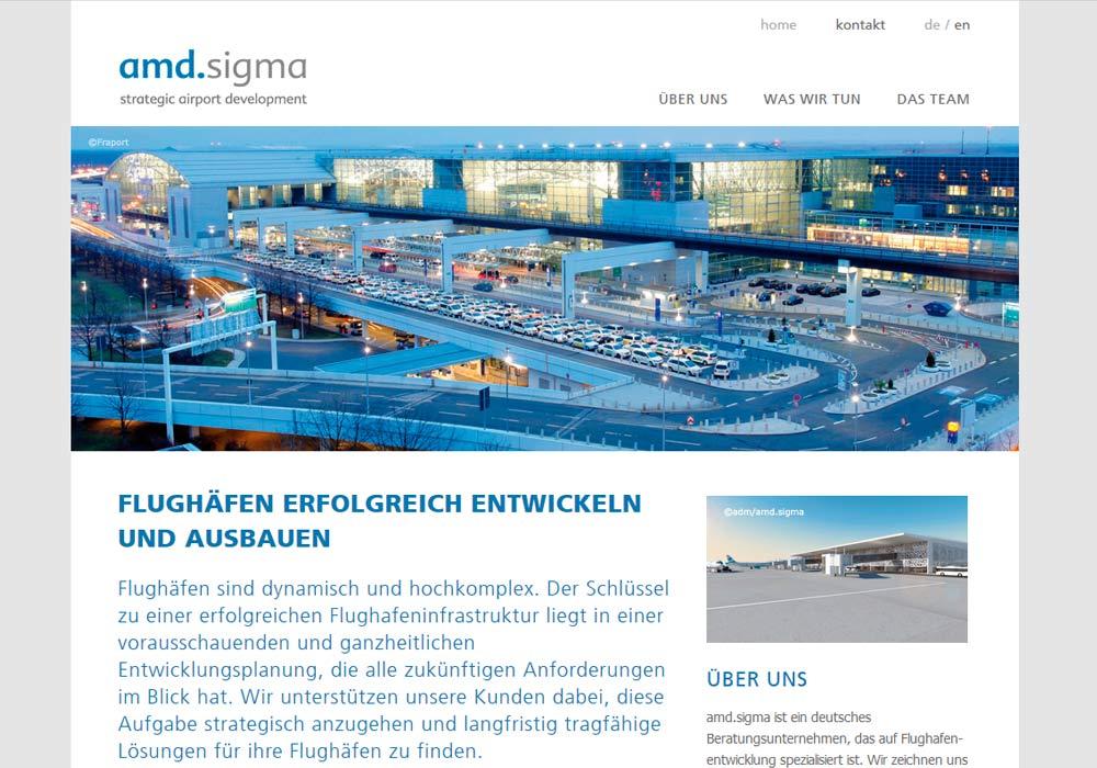 Beispiel zu amd.sigma ist ein Berliner Beratungsunternehmen, das sich weltweit auf Flughafenentwicklung spezialisiert hat. w2media programmierte diese Website und optimierte sie für die Darstellung in Smartphones und Tabletcomputer.