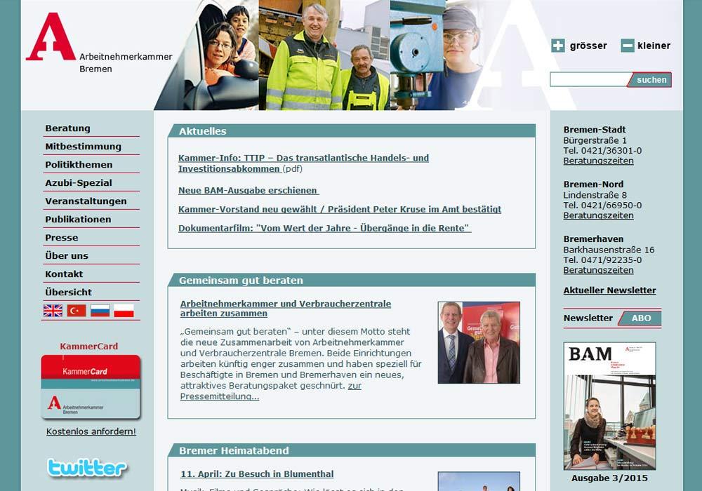 Beispiel zu w2media übernahm die Betreueung der Website der ArbeitnehmerkammerBremen im Jahre 2009, wir beraten die Redakteure und erweitern und aktualisieren kontinuierlich das Redaktionssystem contenido.