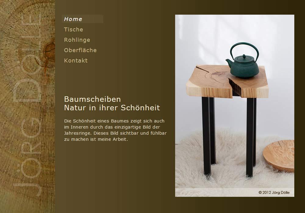 Beispiel zu w2media entwarf und entwickelte die Website des Möbeltischlers Jörg Dölle und integrierte diese in das Redaktionssystem contao.