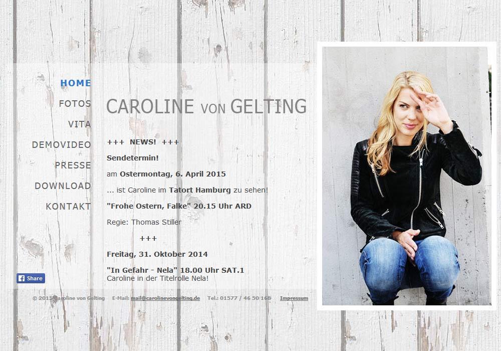 Beispiel zu w2media entwarf und entwickelte die Website der Hamburger Schauspielerin Caroline von Gelting und integrierte diese in das Redaktionssystem contenido.