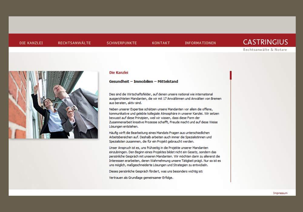 Beispiel zu w2media entwickelte die Website der Bremer Rechtsanwaltkanzlei Castringius (Rechtsanwälte & Notare) und integrierte sie in das Redaktionssystem contenido.