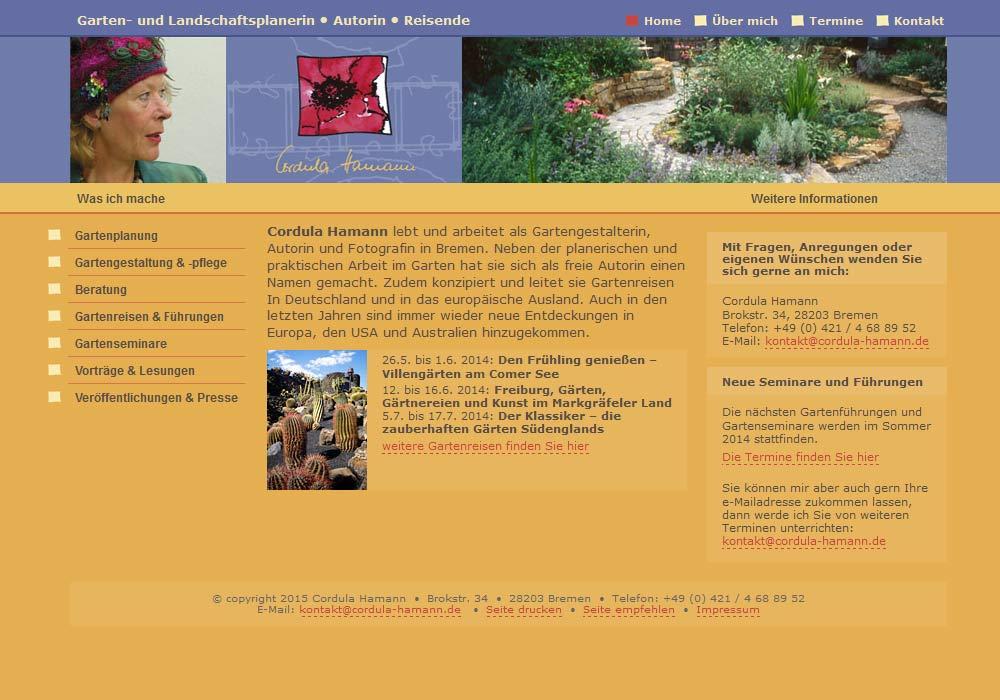 Beispiel zu w2media entwickelte und pflegt die Website der Bremer Landschafts- und Gartenplanerin und Autorin Cordula Haman, die über diese Website regelmäßig Vorträge und Gartenreisen anbietet.