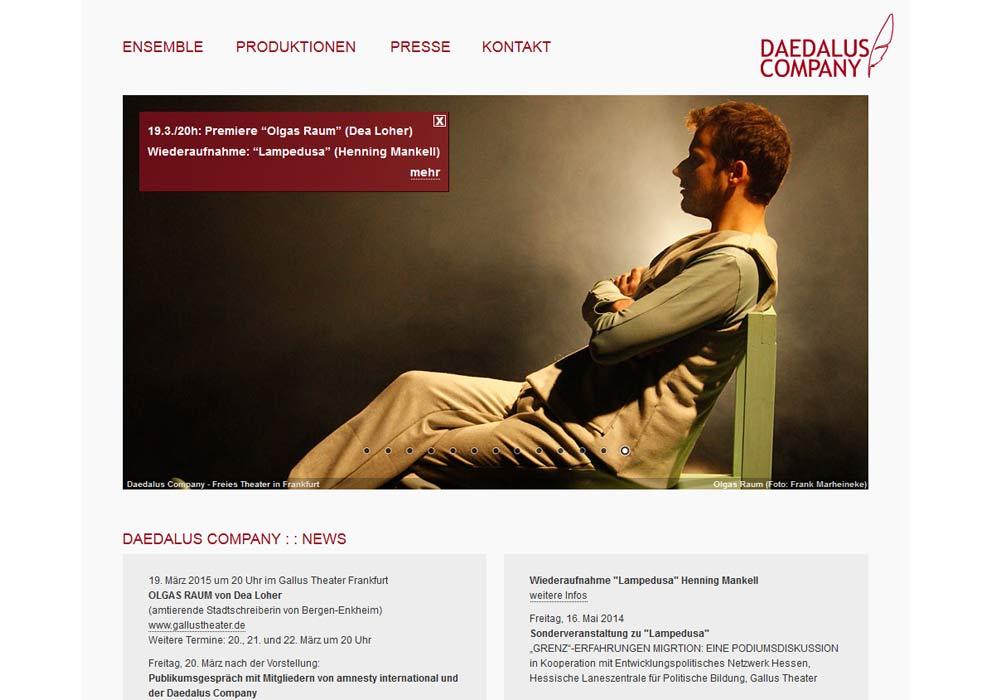 Beispiel zu Die Website des Frankfurter Theaersensembles Daedalus Company wurde grafisch überarbeitet,in das Redaktionssystem contenido integriert und für die Darstellung in Smartphones und Tabletcomputer optimiert.