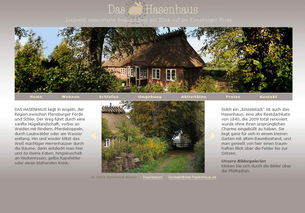"""Beispiel zu w2media entwarf und entwickelte die Website des Ferienhauses """"Das Hasenhaus"""": hier können Interessierte Haus und Landschaft anhand vieler animierter Fotogalerien erkunden."""