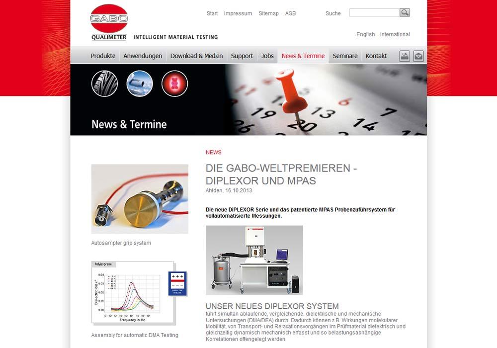 Beispiel zu w2media entwickelte die Website fürGABO QUALIMETER Testanlagen GmbH und integrierte sie in das Redaktionssystem contenido.