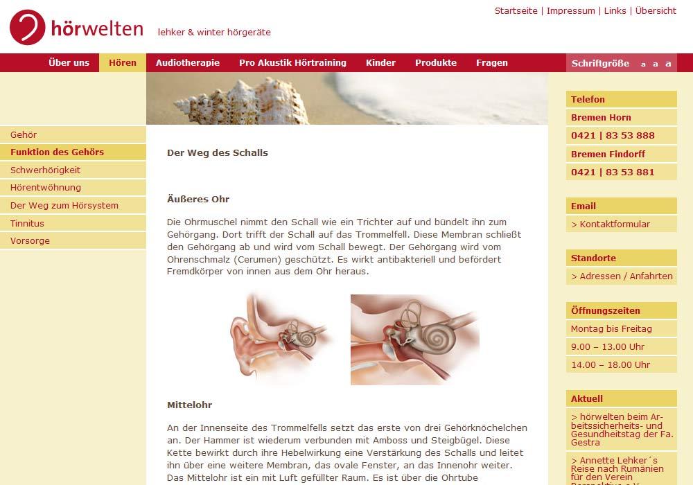 Beispiel zu w2media entwickelte und pflegt die Website der Bremer Hörgerateakusterinnen Lehker & Winter.