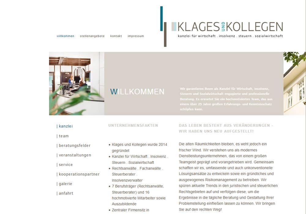 Beispiel zu Die Website für die Osnabrücker Rechtsanwaltskanzlei Klages und Kollegen wurde konzeptionell und grafisch von Beginn an auf die Erfordernisse des Responsive Designs abgestimmt. Sie verbindet das ansprechende Design einer traditionellen Website mit den kundenfreundlichen Anpassungen für Tabletcomputer und Smartphones.