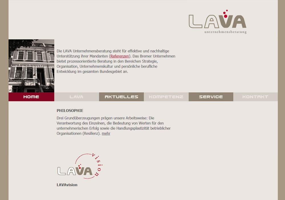 Beispiel zu w2media entwickelte die Website der Bremer Firma LAVA Unternehmensberatung und pflegt seitdem wechselnde Inhalte ein.