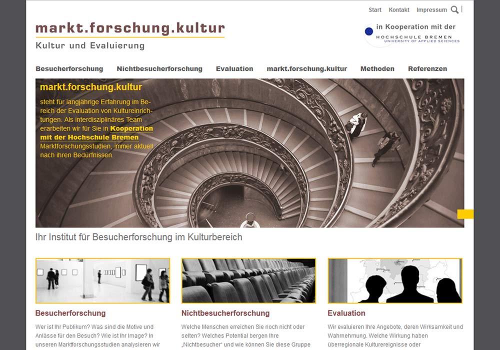 Beispiel zu Die Website des Forschungsinstiutus markt.forschung.kultur wurde grafisch überarbeitet und strukturell für Suchmaschinen optimiert. Zugleichg wurde die Website in das Redaktionssystem contenido integriert und für die Darstellung in Smartphones und Tabletcomputer eingerichtet.