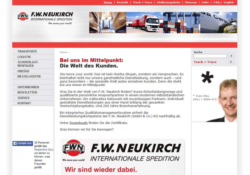 Beispiel zu w2media entwickelte die Website des Bremer Logistikunternehmens F.W. Neukirch und berät seitedem die hausinterne IT-Abteilung bei Pflege und Umstrukturierungen der Website.