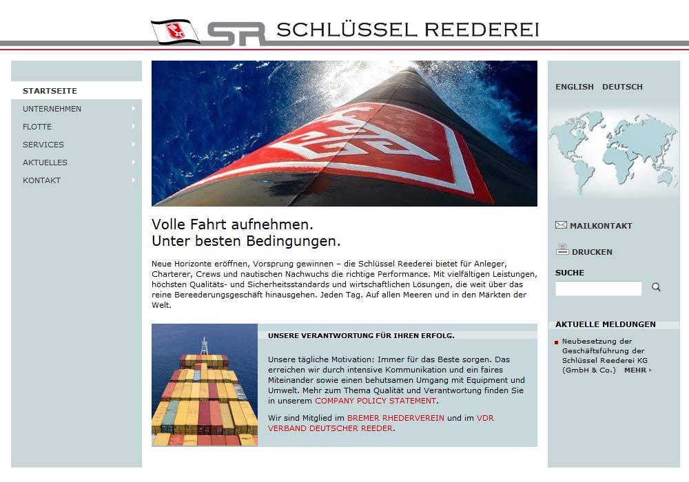 Beispiel zu w2media entwickelte die Website der Schlüssel-Reederei in Bremen und integrierte sie in das Redaktionssystem contenido.