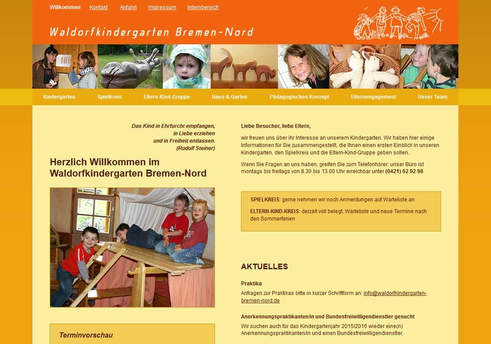 Beispiel zu w2media entwarf und entwickelte die Website des Waldorfkindergartens Bremen-Nord und pflegt seitdem aktuelle Inhalte ein.